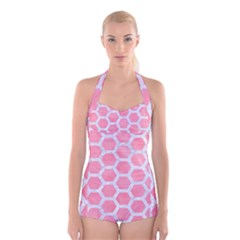 HEXAGON2 WHITE MARBLE & PINK WATERCOLOR Boyleg Halter Swimsuit
