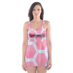 HEXAGON2 WHITE MARBLE & PINK WATERCOLOR Skater Dress Swimsuit