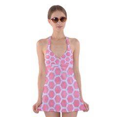 HEXAGON2 WHITE MARBLE & PINK WATERCOLOR Halter Dress Swimsuit