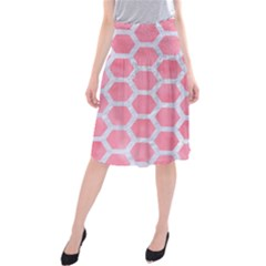 HEXAGON2 WHITE MARBLE & PINK WATERCOLOR Midi Beach Skirt