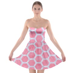 HEXAGON2 WHITE MARBLE & PINK WATERCOLOR Strapless Bra Top Dress