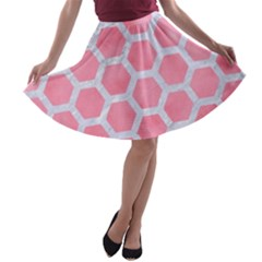 HEXAGON2 WHITE MARBLE & PINK WATERCOLOR A-line Skater Skirt