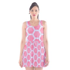 HEXAGON2 WHITE MARBLE & PINK WATERCOLOR Scoop Neck Skater Dress
