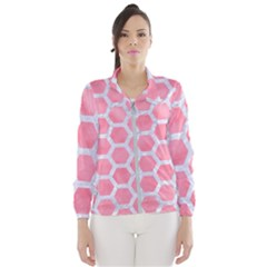 HEXAGON2 WHITE MARBLE & PINK WATERCOLOR Windbreaker (Women)