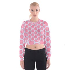 HEXAGON2 WHITE MARBLE & PINK WATERCOLOR Cropped Sweatshirt