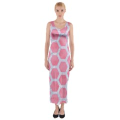HEXAGON2 WHITE MARBLE & PINK WATERCOLOR Fitted Maxi Dress