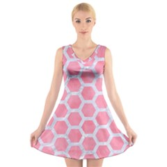 HEXAGON2 WHITE MARBLE & PINK WATERCOLOR V-Neck Sleeveless Dress