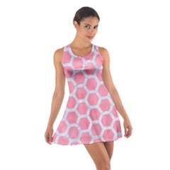 HEXAGON2 WHITE MARBLE & PINK WATERCOLOR Cotton Racerback Dress