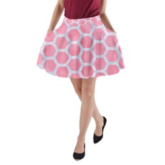 HEXAGON2 WHITE MARBLE & PINK WATERCOLOR A-Line Pocket Skirt