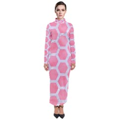 HEXAGON2 WHITE MARBLE & PINK WATERCOLOR Turtleneck Maxi Dress