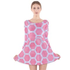 HEXAGON2 WHITE MARBLE & PINK WATERCOLOR Long Sleeve Velvet Skater Dress