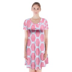 HEXAGON2 WHITE MARBLE & PINK WATERCOLOR Short Sleeve V-neck Flare Dress