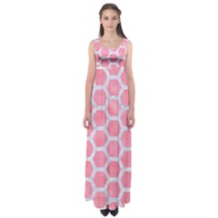 HEXAGON2 WHITE MARBLE & PINK WATERCOLOR Empire Waist Maxi Dress