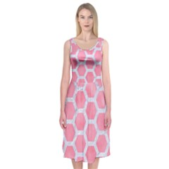 HEXAGON2 WHITE MARBLE & PINK WATERCOLOR Midi Sleeveless Dress