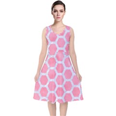 HEXAGON2 WHITE MARBLE & PINK WATERCOLOR V-Neck Midi Sleeveless Dress