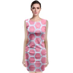 HEXAGON2 WHITE MARBLE & PINK WATERCOLOR Classic Sleeveless Midi Dress