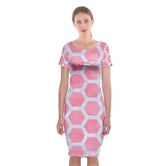 HEXAGON2 WHITE MARBLE & PINK WATERCOLOR Classic Short Sleeve Midi Dress