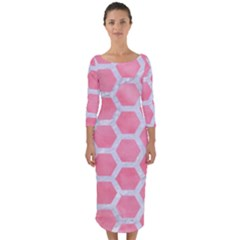 HEXAGON2 WHITE MARBLE & PINK WATERCOLOR Quarter Sleeve Midi Bodycon Dress
