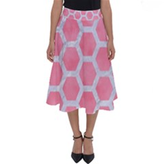 HEXAGON2 WHITE MARBLE & PINK WATERCOLOR Perfect Length Midi Skirt