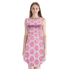 HEXAGON2 WHITE MARBLE & PINK WATERCOLOR Sleeveless Chiffon Dress