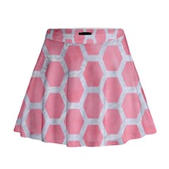 HEXAGON2 WHITE MARBLE & PINK WATERCOLOR Mini Flare Skirt