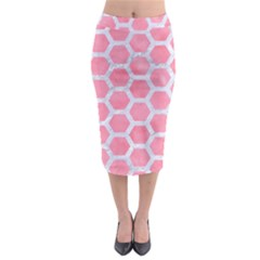 HEXAGON2 WHITE MARBLE & PINK WATERCOLOR Midi Pencil Skirt