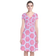 HEXAGON2 WHITE MARBLE & PINK WATERCOLOR Short Sleeve Front Wrap Dress