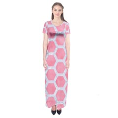 HEXAGON2 WHITE MARBLE & PINK WATERCOLOR Short Sleeve Maxi Dress