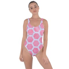 HEXAGON2 WHITE MARBLE & PINK WATERCOLOR Bring Sexy Back Swimsuit