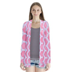 HEXAGON2 WHITE MARBLE & PINK WATERCOLOR Drape Collar Cardigan