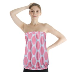 HEXAGON2 WHITE MARBLE & PINK WATERCOLOR Strapless Top