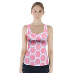 HEXAGON2 WHITE MARBLE & PINK WATERCOLOR Racer Back Sports Top