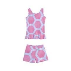 HEXAGON2 WHITE MARBLE & PINK WATERCOLOR Kid s Boyleg Swimsuit