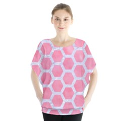 HEXAGON2 WHITE MARBLE & PINK WATERCOLOR Blouse