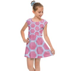 HEXAGON2 WHITE MARBLE & PINK WATERCOLOR Kids Cap Sleeve Dress