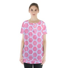 HEXAGON2 WHITE MARBLE & PINK WATERCOLOR Skirt Hem Sports Top