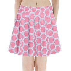 HEXAGON2 WHITE MARBLE & PINK WATERCOLOR Pleated Mini Skirt