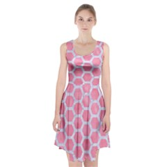 HEXAGON2 WHITE MARBLE & PINK WATERCOLOR Racerback Midi Dress