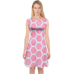 HEXAGON2 WHITE MARBLE & PINK WATERCOLOR Capsleeve Midi Dress