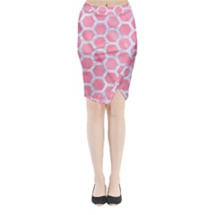 HEXAGON2 WHITE MARBLE & PINK WATERCOLOR Midi Wrap Pencil Skirt