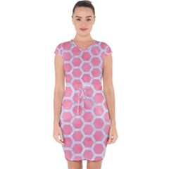 HEXAGON2 WHITE MARBLE & PINK WATERCOLOR Capsleeve Drawstring Dress