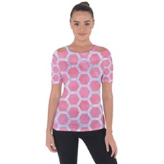 HEXAGON2 WHITE MARBLE & PINK WATERCOLOR Short Sleeve Top