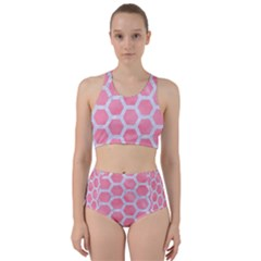 HEXAGON2 WHITE MARBLE & PINK WATERCOLOR Racer Back Bikini Set