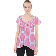 HEXAGON2 WHITE MARBLE & PINK WATERCOLOR Lace Front Dolly Top