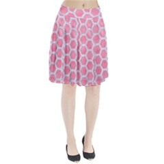 HEXAGON2 WHITE MARBLE & PINK WATERCOLOR Pleated Skirt