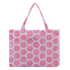 HEXAGON2 WHITE MARBLE & PINK WATERCOLOR Medium Tote Bag