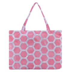 HEXAGON2 WHITE MARBLE & PINK WATERCOLOR Zipper Medium Tote Bag