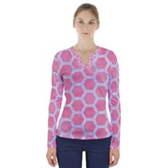 HEXAGON2 WHITE MARBLE & PINK WATERCOLOR V-Neck Long Sleeve Top
