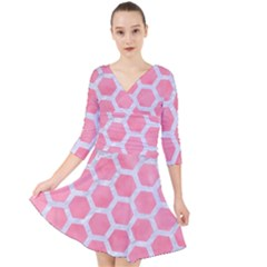 HEXAGON2 WHITE MARBLE & PINK WATERCOLOR Quarter Sleeve Front Wrap Dress