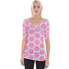 HEXAGON2 WHITE MARBLE & PINK WATERCOLOR Wide Neckline Tee